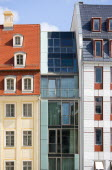 GERMANY, Saxony, Dresden, Restored buildings and modern glass house in Neumarkt square.
