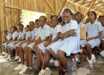HAITI, Isla de la Laganave, Schoo girls in uniform.