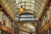 England, London, The City, Leadenhall Market interior detail of the vaulted ceiling.