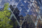 England, London, The City, 30 St Mary Axe, detail of the the Gherkin building.