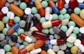 Health, Medicine, Medication, Mixed collection of colourful pills capsules and tablets.