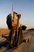 Kazakhstan, Aral Sea, Rusting grounded ships on the former sea bed.