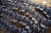 Kenya, Dadaab, Rubber sandals made from recycled car tyres.