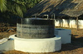 India, Biogas Digester producing methane gas from cattle manure.