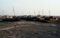 Uzbekistan, Karakalpakstan, Muinak, Aral Sea.  Ships cemetery on city outskirts formally on sea shore now fifty kilometres away.