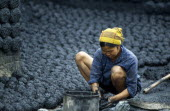 Vietnam, North, Environment, Woman making cakes of dried coal dust to fuel kiln.