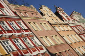 Poland, Wroclaw, pastel coloured building facades in the Rynek old town square.