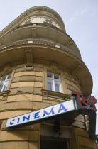 Austria, Vienna, Neubau District, Art Deco era Cinema facade.