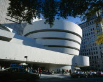 USA, New York, Manhattan, 5th Avenue, Exterior of the Solomon R Guggenheim Museum building designed by Frank Lloyd Wright.