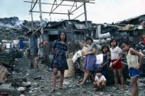 Philippines, Luzon Island, Manila, Smokey Mountain slum area with children living off rubbish tip.
