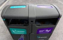 Ireland, County Dublin, Dublin City, Ballsbridge, Lansdowne Road, Aviva Stadium recycling waste containers outside the building.