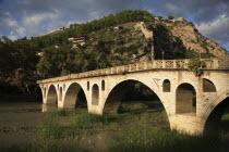 Albania, Berat, Bridge over the river Osum.