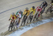 India, Delhi, 2010 Commonwealth games, cyclists in the velodrome.