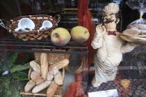 Portugal, Estremadura, Sintra, Cafe & bakery shop front display.