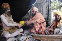 India, Uttarakhand, Hardiwar, Saddhu at Kumbh Mela, Indias biggest religious festival.
