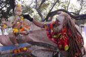 India, Uttarakhand, Hardiwar, Saddhu makes offering at shrine during Kumbh Mela, Indias biggest religious festival where many different traditions of Hinduism come together to bathe in the Ganges.