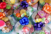 Mexico, Puebla, Packages of brightly coloured sweets.