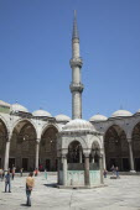 Turkey, Istanbul, Sultanahmet Camii, Blue Mosque, courtyard with minaret.