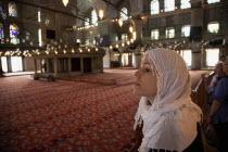 Turkey, Istanbul, Sultanahmet Camii, Blue Mosque interior.