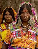 India, Karnataka, Lambani Gypsy women. Tribal forest dwellers, now settled in 30-home rural hamlets. Related to the Rabaris gypsies of Kutch, Gujarat.