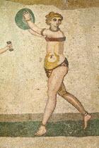 Italy, Sicily, Piazza Armerina,Villa Romana del Casale, Mosaic of female gymnasts in bikinis, Hall of Female Gymnasts.