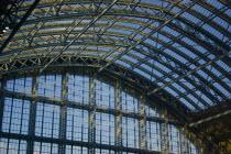 England, London, St Pancras Station roof interior.