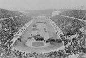 Greece, Attica, Athens, Opening ceremony of the 1896 Games of the I Olympiad in the Panathinaiko stadium, attended by King George I.