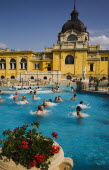 Hungary; Budapest; Pest, Outdoor bathing in summer at Szechenyi thermal baths
