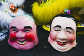 Thailand, Bangkok, Papier mache character heads for Chinese New Year show.