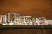 Ireland, North, Belfast, Titanic Quarter, Modern apartment building built on the former shipyard site.