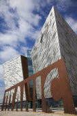 Ireland, North, Belfast, Titanic Quarter, Visitor centre designed by Civic Arts & Eric R Kuhne.