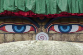 Nepal, Kathmandu, All-seeing Buddha eyes of Boudhanath Stupa, Chorten.