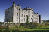Ireland, County Sligo, Markree Castle hotel, angular view of the castle with section of the gardens in foreground.
