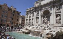 Italy, Lazio, Rome, Piazza di Trevi, the baroque Trevi Fountain by Nicola Salvi 1762 against the Palazzo Poli .