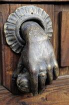 Mexico, Bajio, San Miguel de Allende, Hand of Fatima door knocker.
