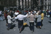 Spain, Catalonia, Barcelona, people dancing the Sardana in front of the Cathedral.