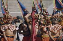 Bhutan, Festivals, Bhutanese masked dancers.
