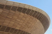 England, London, Stratford, Olympic Park, Exterior of the wood clad Velodrome arena.