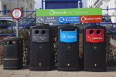 England, East Sussex, Eastbourne, Recycling bins on the seafront promenade.