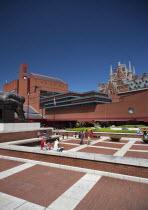 England, London, View of the British Library showing Eduardo Paolozz sculpture, Euston Road.
