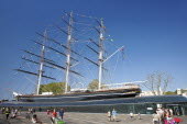England, London, Greenwich, View of the Cutty Sark after restoration.