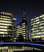 England, London, Southwark, The Shard and offices at night.
