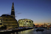 England, London, Southwark, River Thames with The Shard and City Hall at night.
