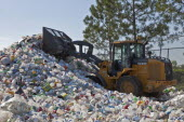 USA, Florida, Pile of Plastic Bottles being Recycled.