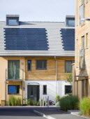 Architecture, Alternative Energy, Electricity, Solar photovoltaic roof tiles or slates on new houses by Linden Homes in Graylingwell Park.