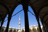 Turkey, Istanbul, Sultanahmet Camii, The Blue Mosque Courtyard with minaret.