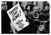 USA, New York State, New York City, Anti Vietnam war demonstrators, group of women with one holding placard with Yankee Stay Home.