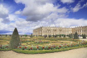 France, Ile de France, Versailles, The South Parterre with the palace behind.