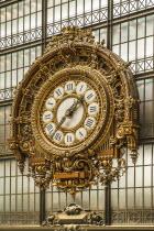 France, Ile de France, Paris, Musee d'Orsay interior showing clock.