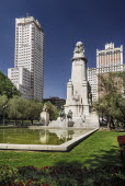 Spain, Madrid, Plaza de Espana, statues of Cervantes, Don Quixote and Sancho Panza,